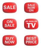 如被看见在电视,销售额。 给图标集做广告 免版税库存照片