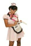 女服务员接受您的命令 免版税库存照片