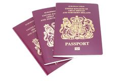 护照三英国 库存图片