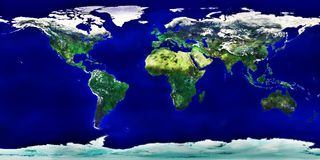 色的详细映射世界 免版税库存图片