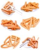 Собрание (установите) свежей сосиски на плите. Изолировано Стоковая Фотография
