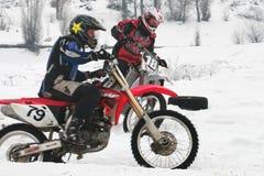 摩托车越野赛冬天 免版税库存照片