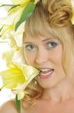 γυναίκα κρίνων Στοκ εικόνα με δικαίωμα ελεύθερης χρήσης