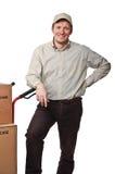портрет работника доставляющего покупки на дом Стоковая Фотография RF