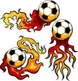 球设计火焰状足球模板 库存图片