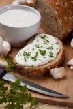сливк сыра хлеба Стоковое Изображение RF