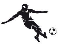 足球运动员剪影足球向量 免版税库存图片