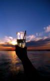 ηλιοβασίλεμα ποτών Στοκ Φωτογραφία