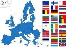 οι ευρωπαϊκές σημαίες χαρτογραφούν την ένωση Στοκ φωτογραφίες με δικαίωμα ελεύθερης χρήσης