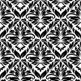 黑色花卉无缝的白色 免版税库存图片