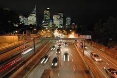 晚上悉尼业务量 库存照片