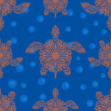 模式无缝的乌龟 免版税库存照片