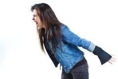 叫喊的妇女年轻人 免版税库存图片