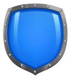 发光蓝色光滑的盾 免版税库存照片