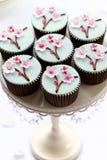开花樱桃杯形蛋糕 库存照片