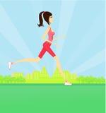女孩跑步的夏天 库存照片
