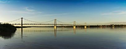 桥梁电缆全景 免版税图库摄影