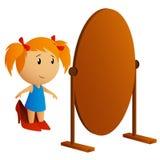 秀丽女孩少许查找的镜子 免版税库存照片
