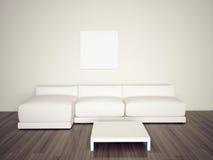 空白长沙发内部最小 免版税库存照片