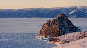 贝加尔湖湖冬天 免版税库存照片