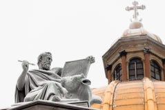 传道者卢克雕塑 免版税库存图片