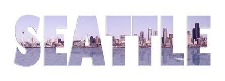 拼贴画全景西雅图 免版税图库摄影