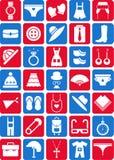 Иконы одежды и вспомогательного оборудования Стоковая Фотография