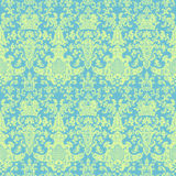 蓝色锦缎绿色模式维多利亚女王时代的著名人物葡萄酒 免版税库存图片