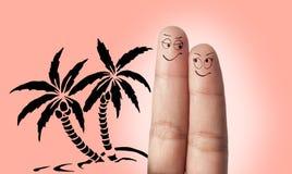 旅行的手指夫妇梦想 免版税库存照片