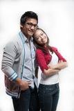 一起微笑亚洲的夫妇 免版税库存图片