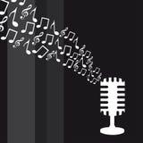 примечания нот микрофона Стоковая Фотография