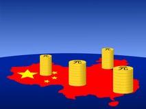 中国硬币映射元 免版税库存照片