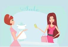 方式女孩例证购物 免版税图库摄影