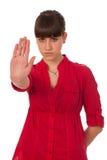 打手势女孩少年符号的终止 库存图片