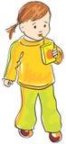 儿童饮料女孩汁液向量 免版税库存照片
