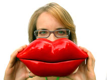 红色大女孩的嘴唇 免版税库存照片