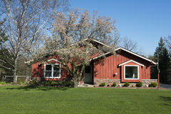 雪松外部完成家房子红色房屋板壁木头 图库摄影