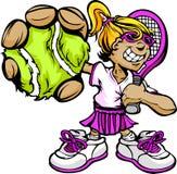 孩子网球员女孩藏品球拍和球 库存图片
