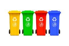 装收集五颜六色的大垃圾于罐中 库存图片
