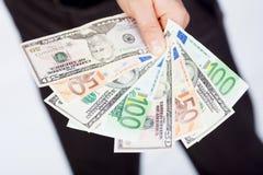 доллары человека евро Стоковое Фото