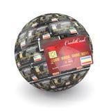 сфера глобуса кредита карточек Стоковое Изображение