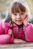女孩佩带的冬天衣裳纵向  免版税库存照片