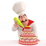 αρχιμάγειρας κέικ που διακοσμεί το χαμόγελο Στοκ φωτογραφία με δικαίωμα ελεύθερης χρήσης