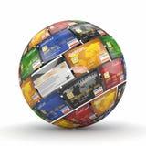 сфера глобуса кредита карточек Стоковая Фотография RF
