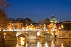 Ватикан в Рим на ноче Стоковая Фотография RF
