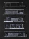 αρχιτεκτονικό χρωματισμένο σχεδιάγραμμα σπίτι σύγχρονο Στοκ Εικόνες