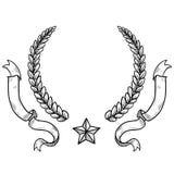 花圈和丝带纹章背景 库存图片