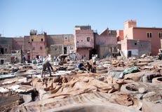 马拉喀什皮革厂 免版税库存照片