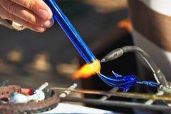 艺术家吹风机小雕象玻璃做 免版税库存照片