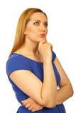 秀丽白肤金发的作的妇女 免版税库存照片